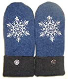 Integrity Designs Sweater Mittens, 100% Wool, Blue, Gray, White Folk Art Snowflake Motif Embroidery with Polar Fleece Lining, Adult Size Medium / Large Ladies, Contrasting Button