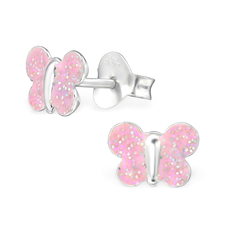 gh1a Baby Rosa Brillante Mariposa Pendientes Plata de ley 925pendientes niña infantil