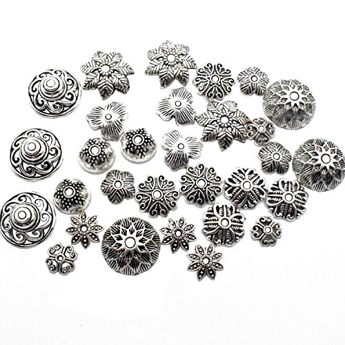Wholesale Bead Caps (Beads Caps-About 150pcs Antqiue Silver Bead caps Craft Supplies Charms Pendants for Crafting, Jewelry Findings Making Accessory For DIY Necklace Bracelet M4 (Beads Caps))