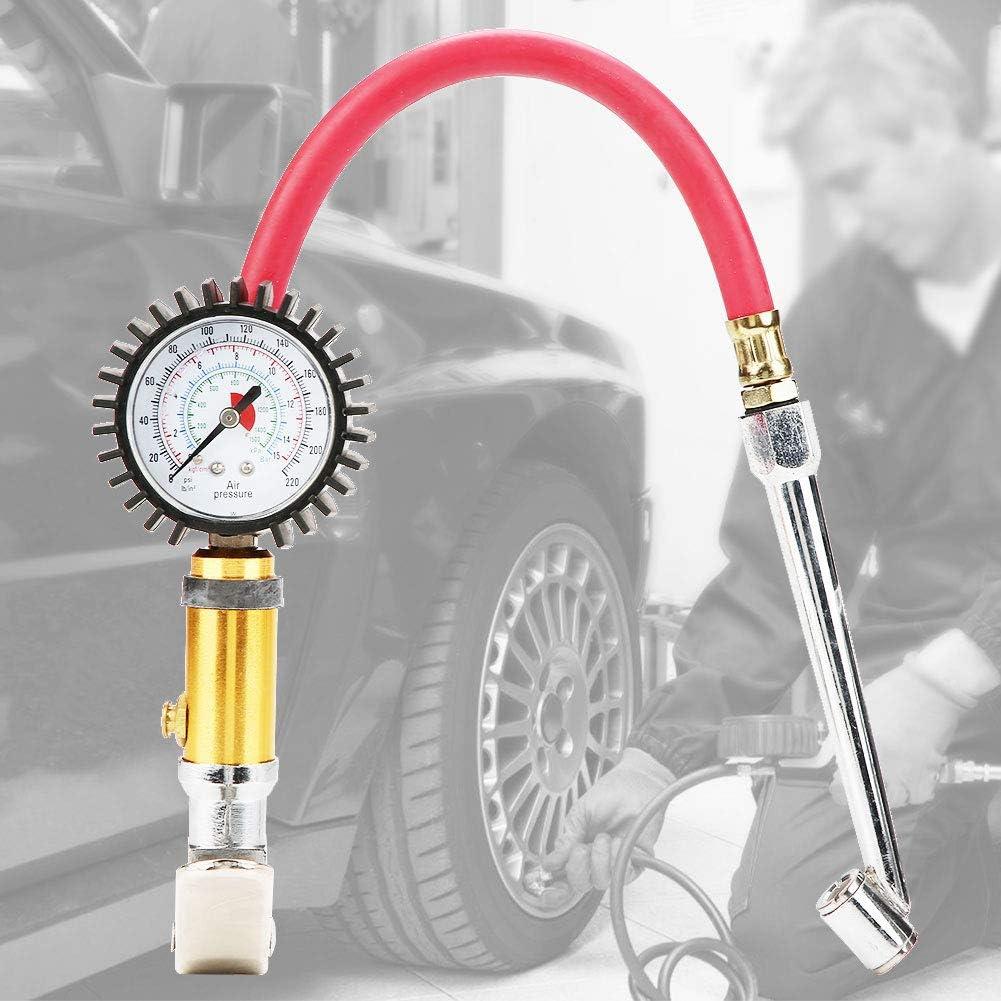 Herramienta de compresor de aire de man/ómetro para bicicleta motocicleta Inflador de neum/áticos autom/óvil 1//4 Pistola de bomba de inflado de aire para neum/áticos Capacidad de presi/ón 10-220 psi