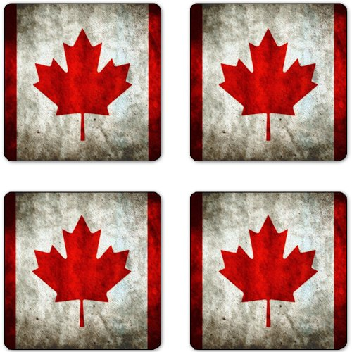 Canada Flag Rubber Square Coaster set (4 pack) Great Gift - Canada Flag Coaster