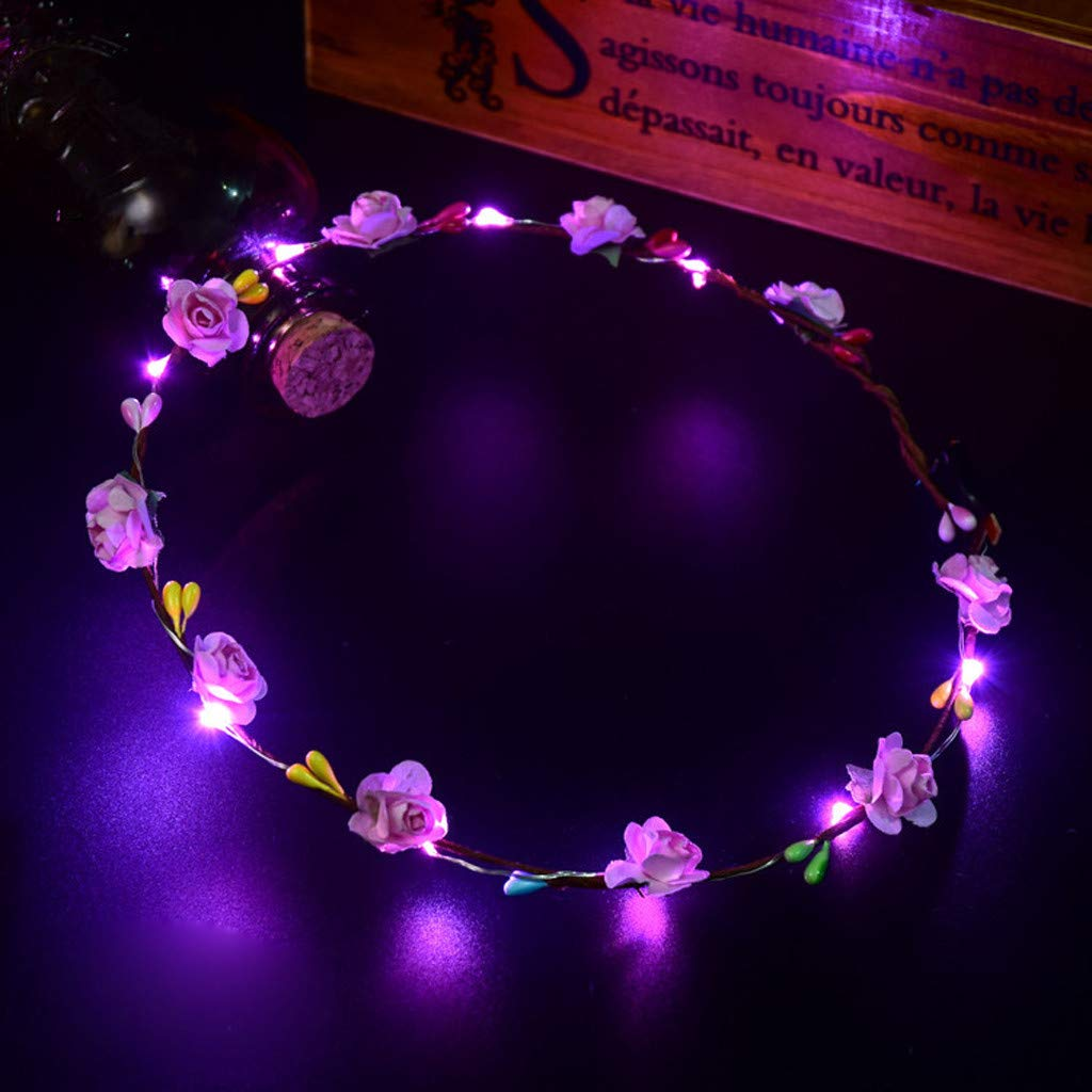 LED Flower Crown Hairband for Women Girls,Glowing Wreath Hair Band Hair Accessory Photography Wedding Festival Holiday Cosplay Christmas Halloween Party Valentine's Day New Year Decoration