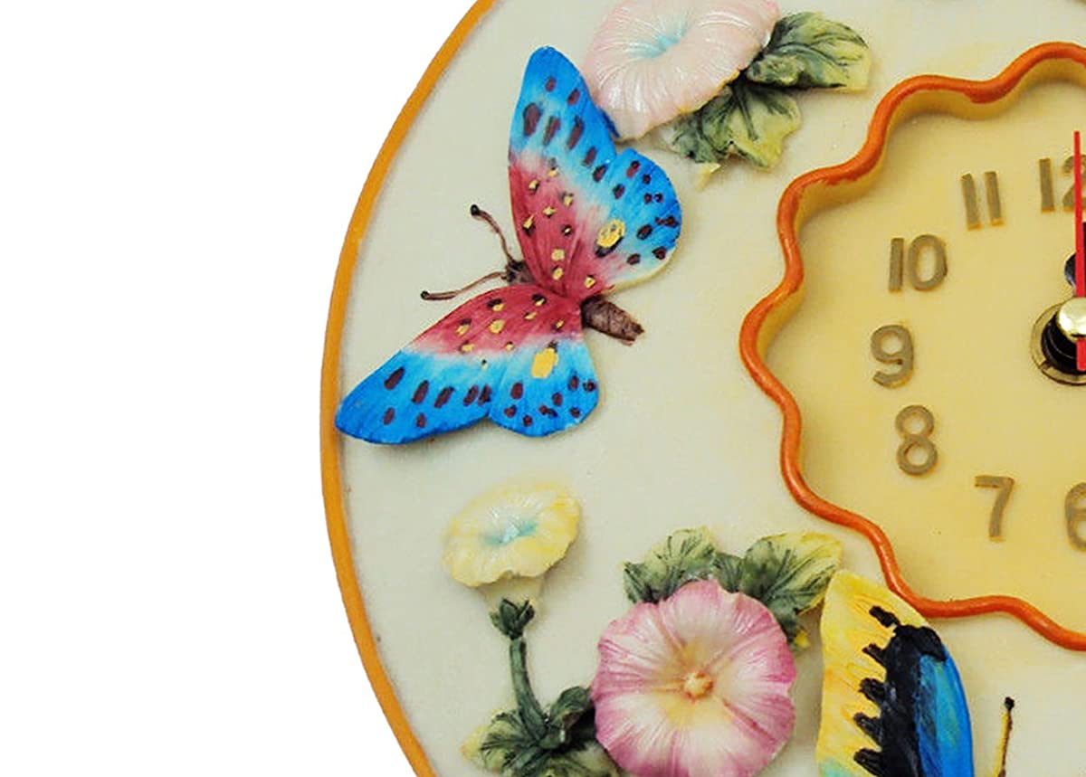 """Butterfly Clock, 8"""" Round, 3D Polystone - Butterflies Wall Decor For Kitchen, Nursery, Bedroom, Patio, Bathroom, Office Butterfly Decoration - Best Butterflies Gift Idea, Butterflies Decoration."""
