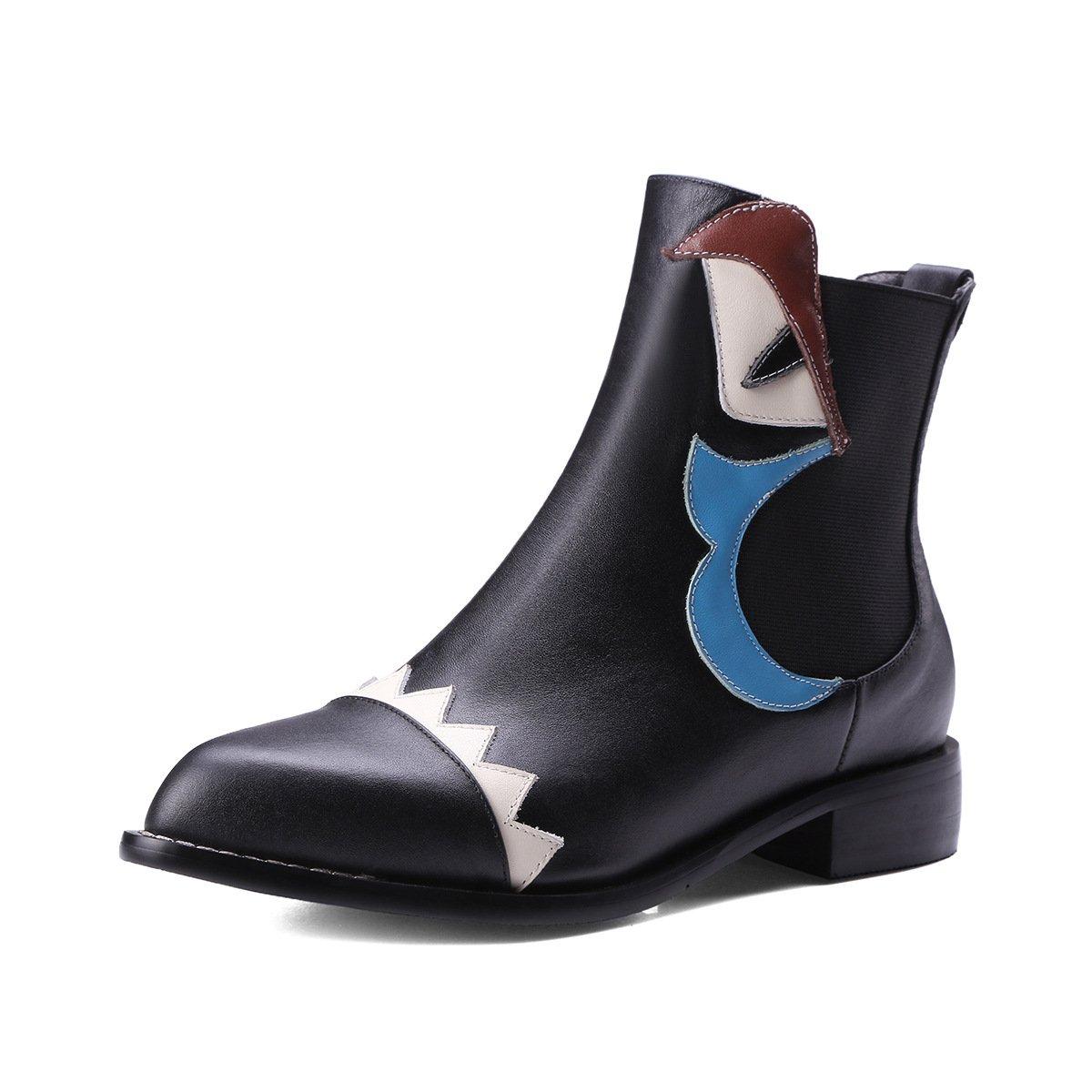 QIN&X Damens's Block Spitze Zehe kurze Ankle Stiefel Schuhe schwarz