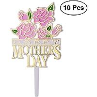 BESTOYARD 10 unids Tarta Mamá Cake Topper Cumpleaños Madre Dia de la Madre Decoración Rosa Flor