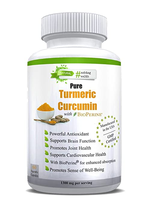 Turmeric Curcumin---Pure, Extra Strength Anti-Inflammatory Supplement w/BioPerine (Black Pepper) - 1300mg (2 Capsules each Serving)-Made in US & Certified