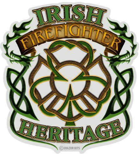 Firefighter Decals, Show Your Pride with our Irish Firefighter Heritage Patriotic Decals, Perfect for Your Kitchen, Car, Wall or Bike, Gifts for Firefighters (4IN)