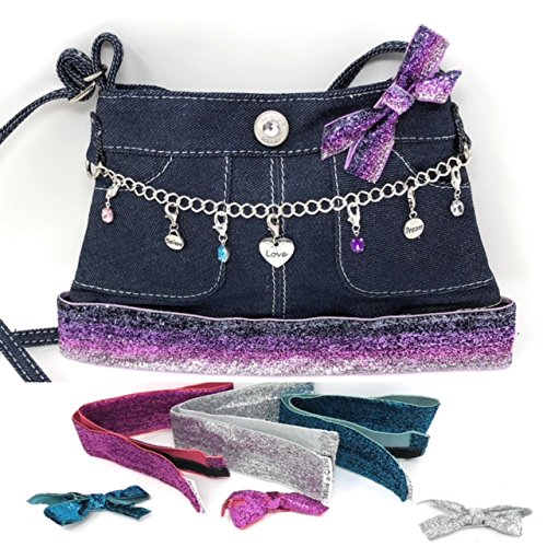 ~NEW~ Skirty Purse Charm Holder Purse with (4) Interchangeable Glitter Ribbon Trims & Accessories Blue Jean Denim Girls Purses Cross body Handbag by (Bow Trim Shoulder Bag)