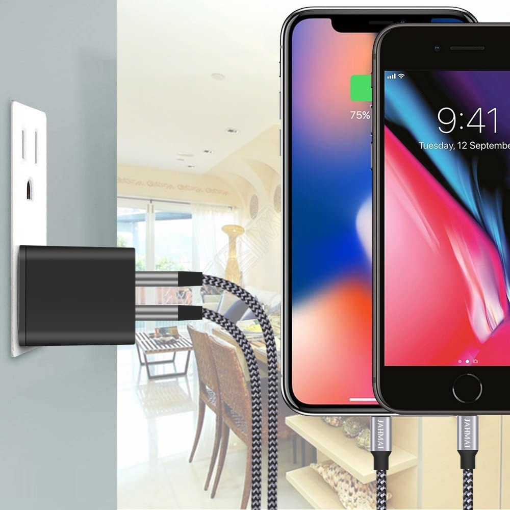 iPhone Charger Compatible With iPhone 11 PRO MAX XS XR X 8 7 Plus 6S 6 iPad JAHMAI Nylon Braided Fast Charging Lightning Cable 2Pack 6ft Data Sync Transfer Cord Dual Port Plug Wall Charger UL Listed