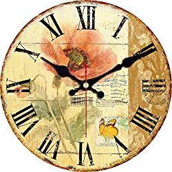 ShuaXin 14 Flower and Butterfly Style Roman Numeral Design Sweet House Decor Wooden Wall Clocks Decorative Wall Clock Wall Art Gift (Flower-05)