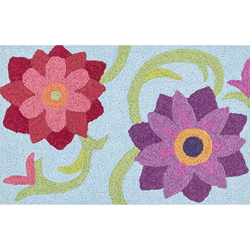 Berry Hooked Rug - Alexander Home Hand-hooked Marcy Light Blue/Berry Flower Rug (1'9 x 2'9)