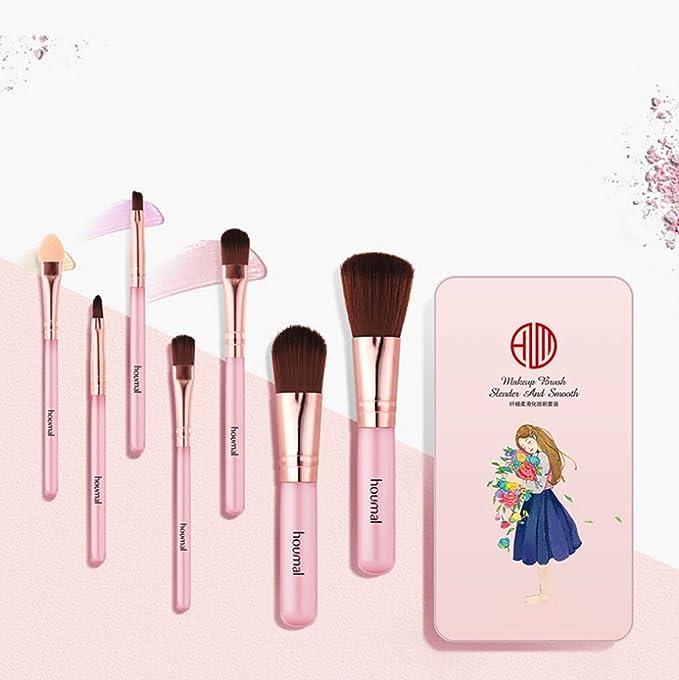 HU 7 cepillos del Maquillaje Esenciales for Principiantes, cerdas ...