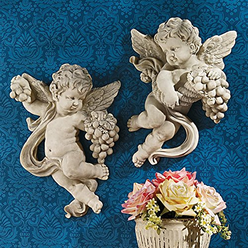 Design Toscano Cherub Harvest Wall Sculptures, Full Color