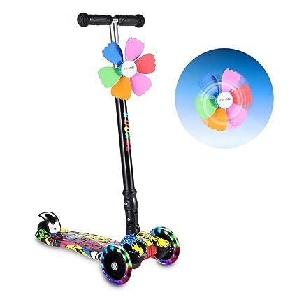 KUOKEL Patinete de 3 Ruedas con Diseño Scooter Plegable de la PU para los niños Ajustables de la manija de la Altura de la Rueda con Mini Winnower