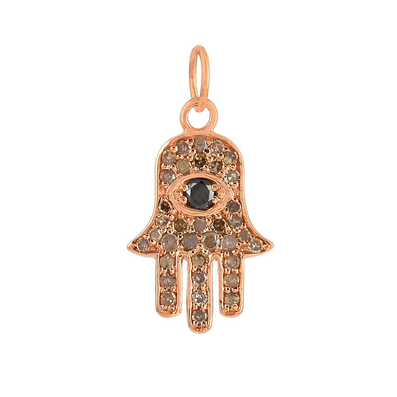 14k Rose Gold pave Black diamond hamsa charms beautiful necklace jewelry