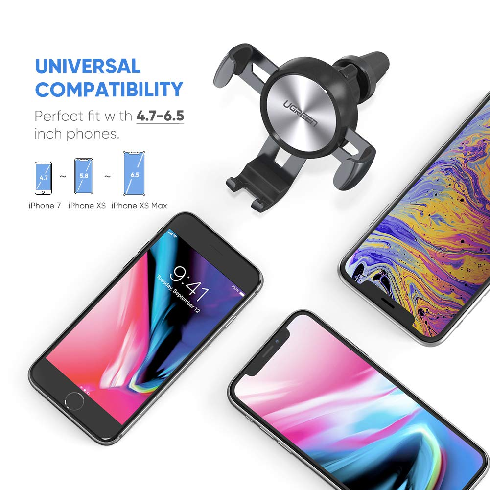 Samsung S10 S9 S8 Plus X Xiaomi Mi A2 Lite A8 UGREEN Car Phone Mount Air Vent Gravity Phone Holder Cradle Adjustable Cell Phone Stand Clamp Compatible for iPhone XS Max XR Google Pixel 3 2 XL LG G7 8 Plus Note 9 8