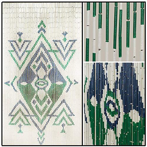 BeadedString Natural Bamboo Wood Beaded Curtain-90 Strands-80 High-Boho Door Beads-Bohemian Doorway Curtain-35.5