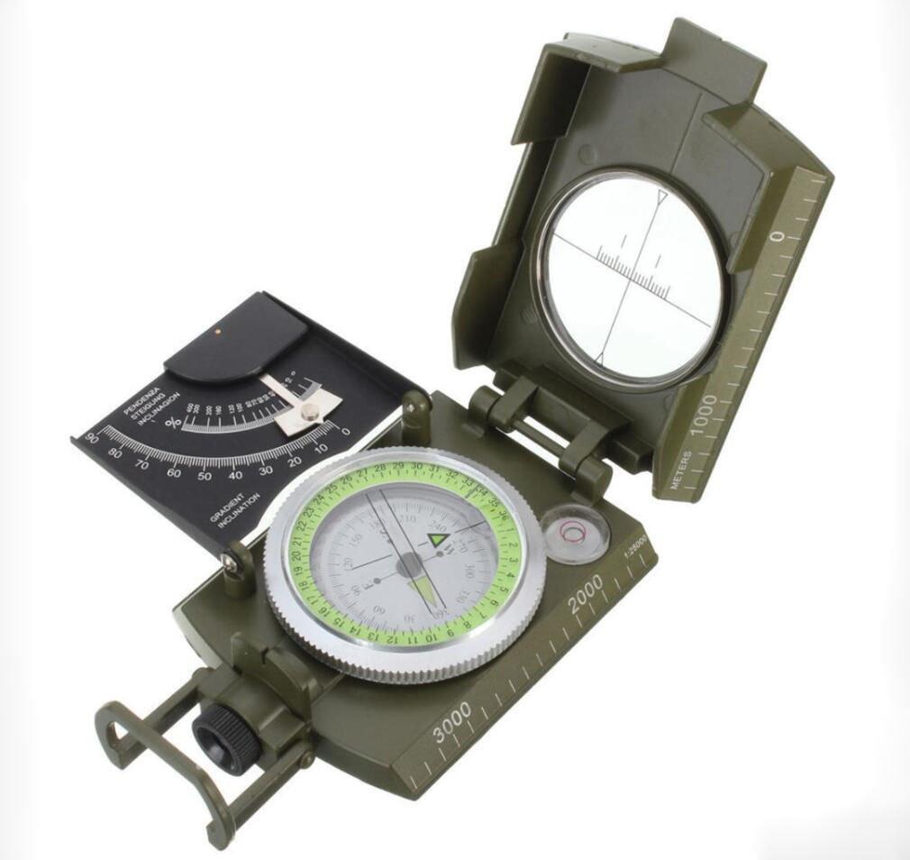 Hycy 2018 Nuevo Profesional Ejé rcito Militar Metal Sighting Compass Clinó metro Acampar YQGou
