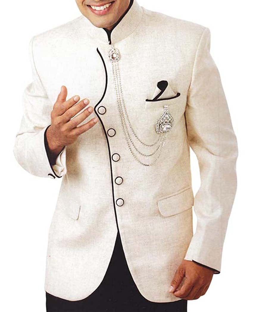INMONARCH Mens Ivory 4 Pc Tuxedo Suit Indian Designer TX952
