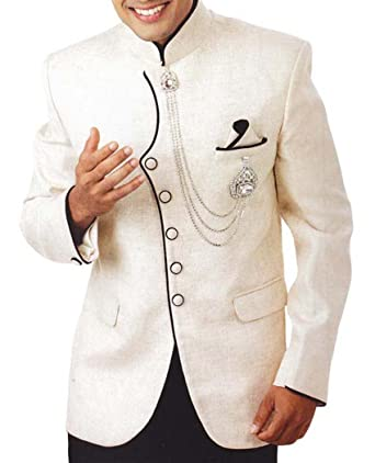 4f37af8cdb INMONARCH Mens Ivory 4 Pc Tuxedo Suit Indian Designer TX952 at Amazon Men s  Clothing store