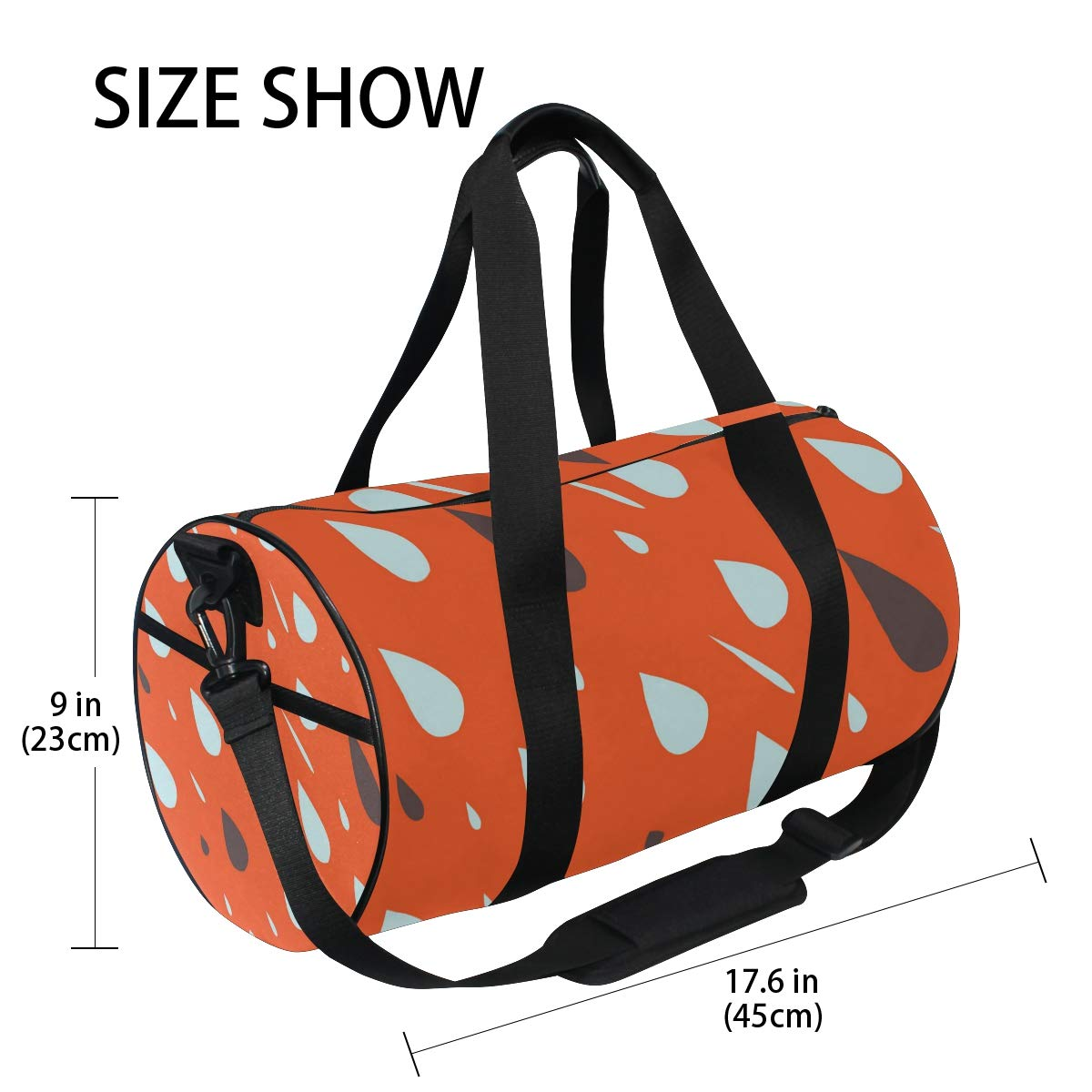 Orange White RaindropsWaterproof Non-Slip Wearable Crossbody Bag fitness bag Shoulder Bag
