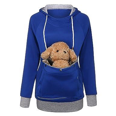 Frashing Damen Langarm Hoodies Pullover mit großen Taschen