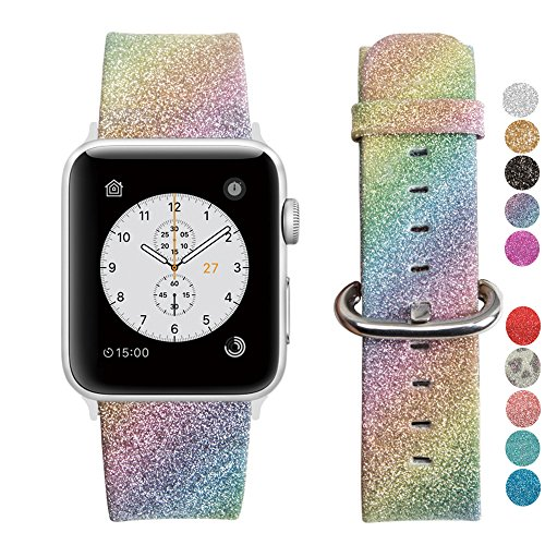 Rainbow Glitter Apple Watch Band 38mm Unicorn iWatch Strap