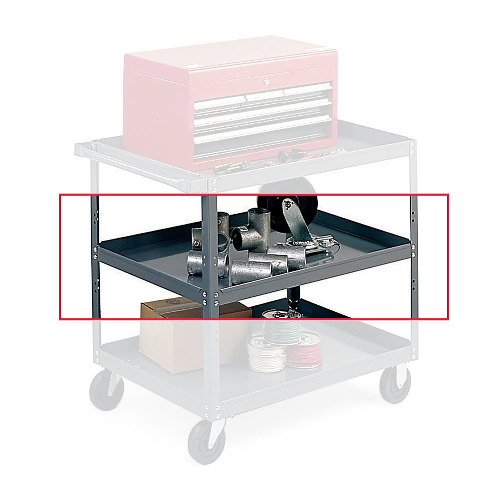 Edsal SC1800T Additional Tray for Extra Heavy-Duty Service Cart, 16 Gauge Steel, Material Handler, Powder Coated Finish, Industrial Gray Color, 18'' Length x 30'' Width x 2'' Height, 1 Shelf