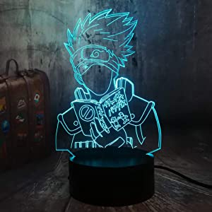 Naruto Japanese Anime Hatake Kakashi Uzumaki 3D LED Night Light USB Table Sleep Lamp Home Decor Child Boy Kid Toys Holiday Christmas Gift(Hatake Kakashi)