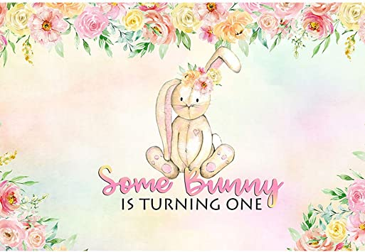 Bunny Stripes First Birthday Banner Personalized Backdrop
