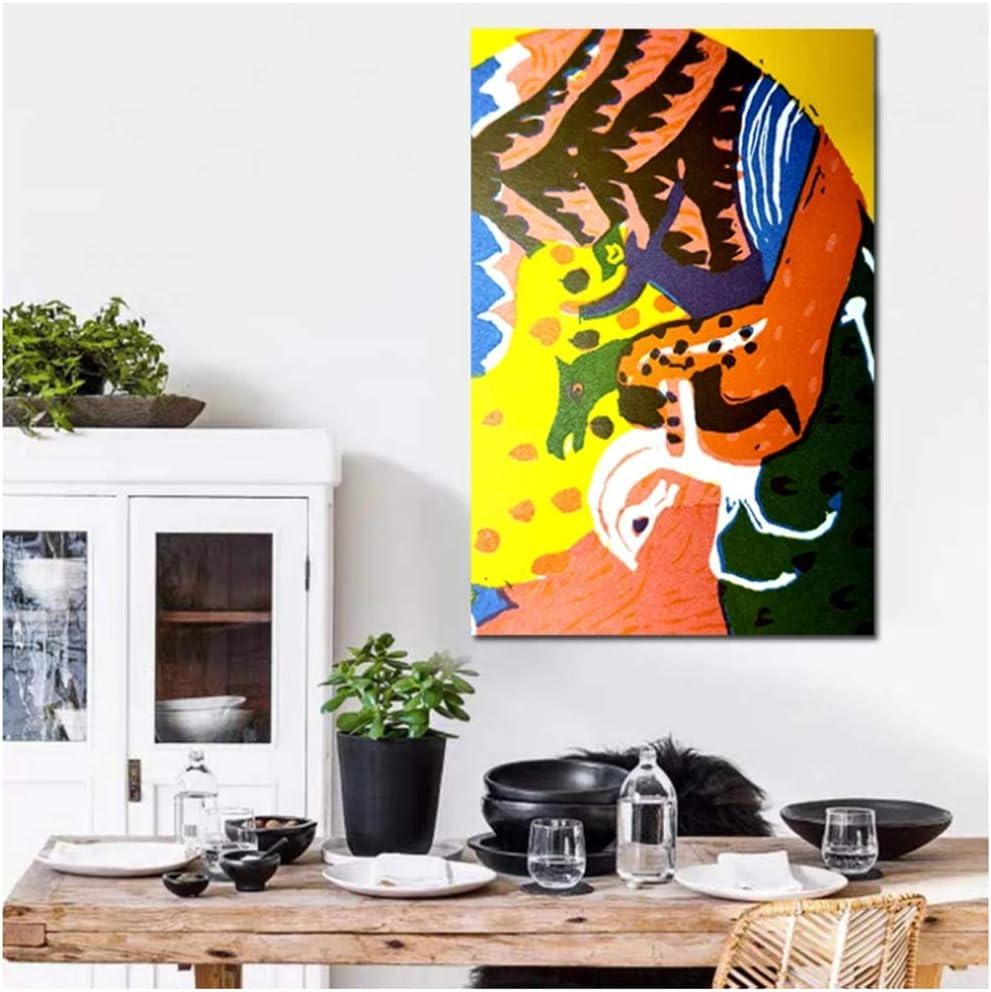 yhyxll Kandinsky Pinturas Caballo Lienzo Cartel nórdico Cuadro Decorativo Cuadro sobre Lienzo para Pared Pintura decoración del hogar Impresiones artísticas-50X75Cm sin Marco
