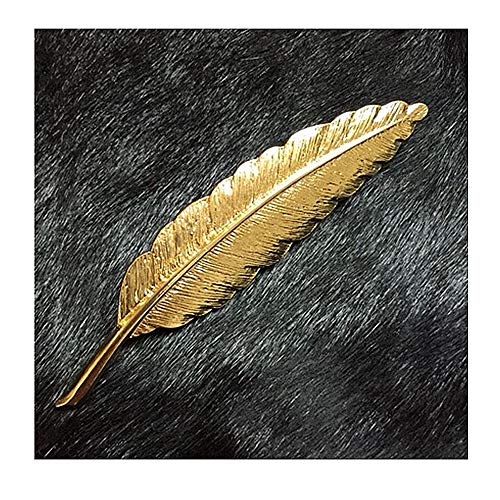 (YRY 1PCS Brooch Feather Leaf Golden Flower Lapel Stick Brooch Pin for Suit )