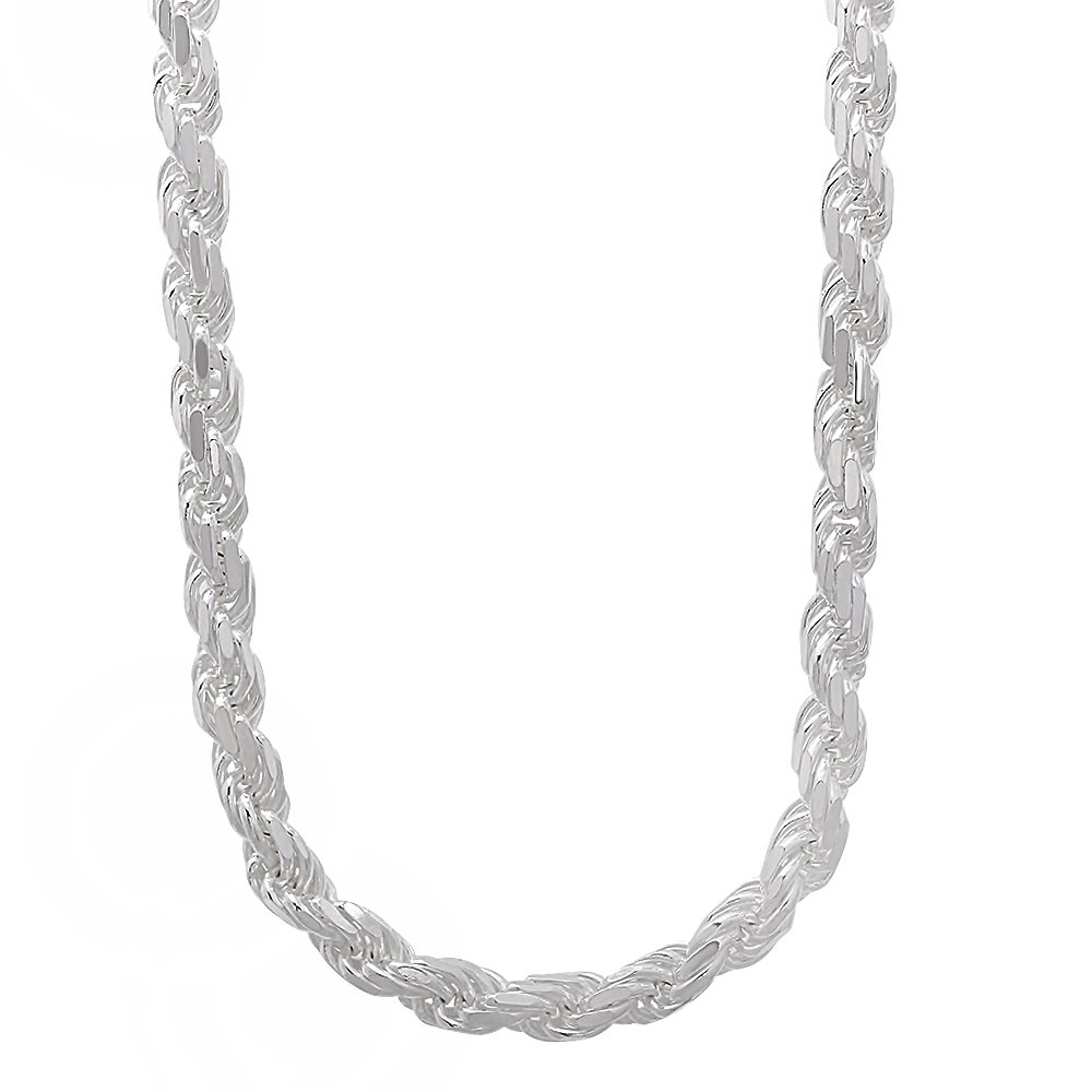 4.8mm 925 Sterling Silver Nickel-Free Diamond-Cut Rope Link Italian Chain, 24'' + Cleaning Cloth