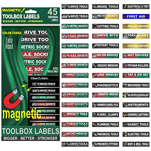 (Ultimate Magnetic Tool Box Organizer Labels (Green edition) organize boxes, drawers & cabinets