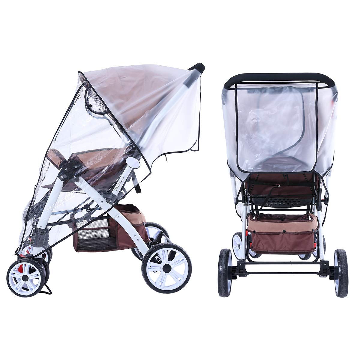 Hrzeem Stroller Rain Cover Stroller Cover Universal Baby Stroller Weather Shield with Storage Pouch EVA Clear Zip Front Opening Waterproof Windproof Protection Easy to Install for Outdoor Use (Black) by Hrzeem (Image #3)