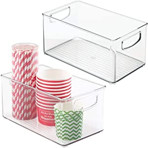 "mDesign Plastic Kitchen Pantry Cabinet, Refrigerator or Freezer Food Storage Bins with Handles - Organizer for Fruit, Yogurt, Snacks, Pasta - Food Safe, BPA Free, 6"" Wide, 2 Pack - Clear"