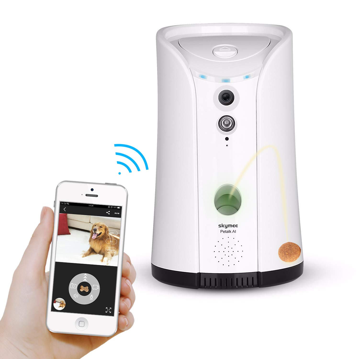 SKYMEE Dog Camera Treat Dispenser WiFi Remote Pet Camera with Two Way Audio and Night Vision
