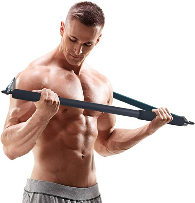 Portable Resistance Bar, Weightlifting Training Kit, Resistance Band Set, Full Body Workout Equipment, for Home Gym