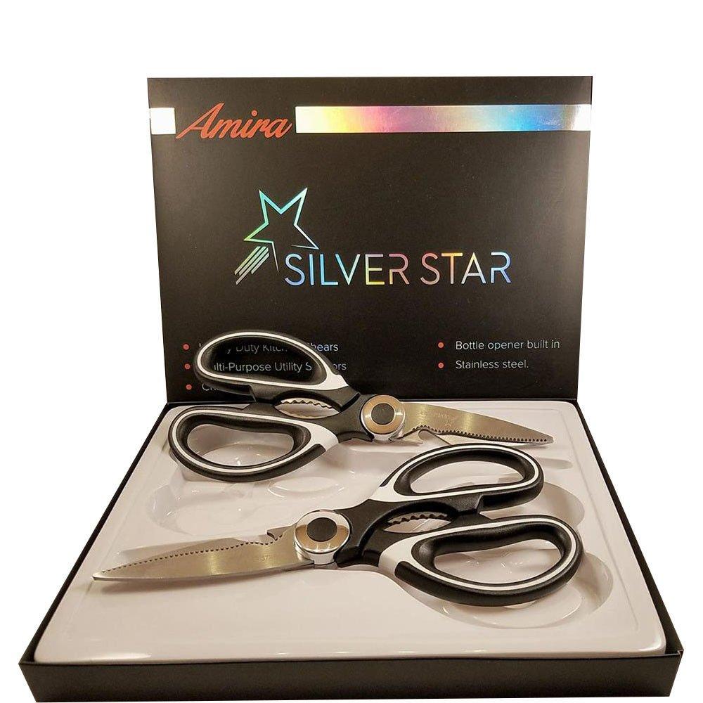 Silver Star Kitchen Scissors Shear Heavy Duty Stainless Steel Multi Purpose Sharp Chicken Ultra Sharp Premium 2 Set