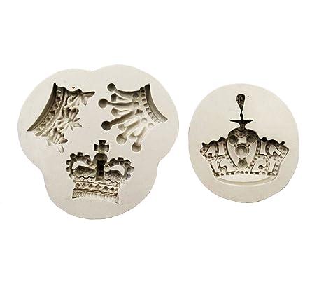 Yunko 2 piezas rey y reina corona silicona decoración de pasteles fondant gompaste moldes