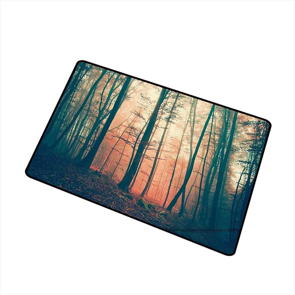 Interior Door mat Mystic House Decor Light and Vintage Color in Mysterious Autumn Forest Woodland Nature Picture W31 xL47 Machine wash/Non-Slip LCoral Dark Green by Axbkl