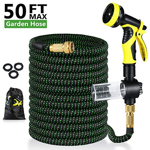 Pimpimsky Garden Hose Expandable 50 feet, Flexible Shrinking Hose with Solid Brass Fittings, Durable Triple Latex Core 9-Pattern Spray Nozzle Stretch Water Hose for Garden Lawn Pet Shower Plant Car