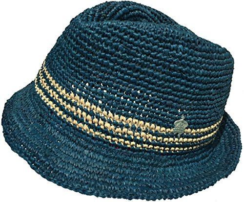 Christys Crown Montys Raffia Straw Fedora Summer Trilby (Medium, Navy) ()