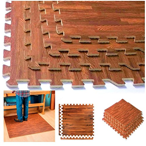 Interlocking Wood Grain Cherry Mats Foam Flooring Gym Exercise Puzzle Mat by unbrand