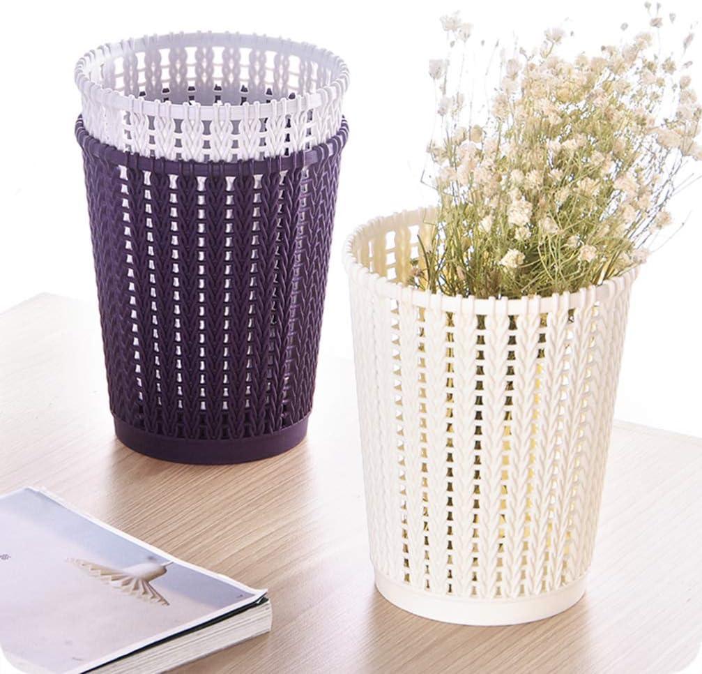 Beige,5.7x5.7x6.8inch Cabilock Mini Open Wastebasket Plastic Mesh Trash Can Dustbin Garbage Box Litter Container for Desktop Iving Room Bedroom Kitchen