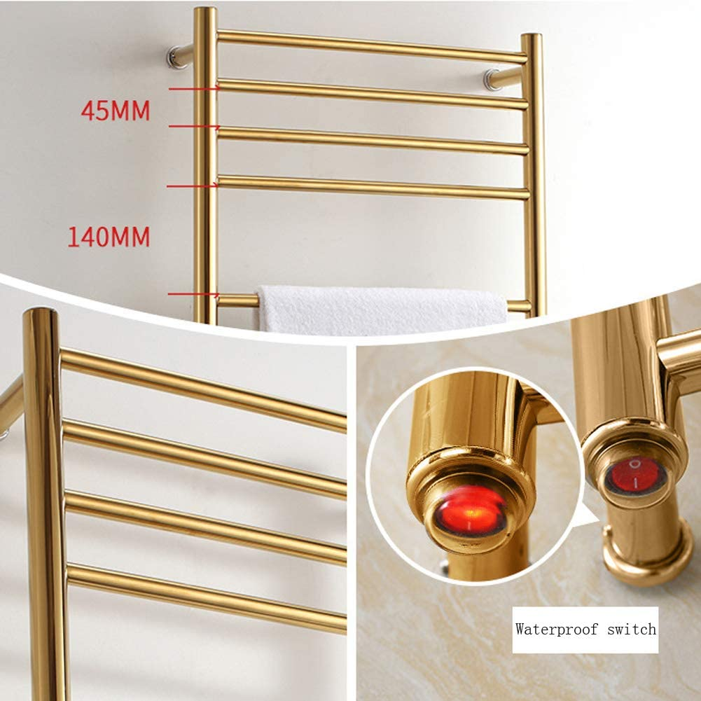 14 Bars,Plug-in Straight Stainless Steel Heater Towel Rack for Bathroom Electric Towel Radiator Gold Wall-Mounted Heated Towel Warmer and Drying Towel Rack