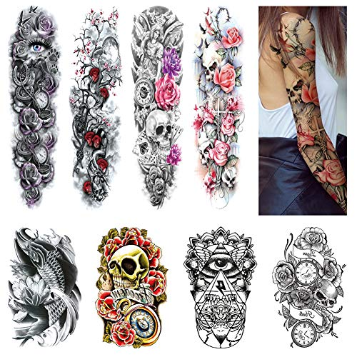 Arm Temporary Tattoo Sleeves for Women Men Body Stickers Hand Leg Shoulder Black Tattoo Large Realistic Fake Tattoo Flower Skull Koi Removable Waterproof Tattoo (8 Sheets) Rave Halloween Party Favors
