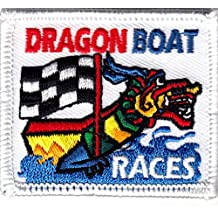 """""""DRAGON BOAT RACES"""" - IRON ON EMBROIDERED PATCH - RACING - FUN - COMPETITION"""