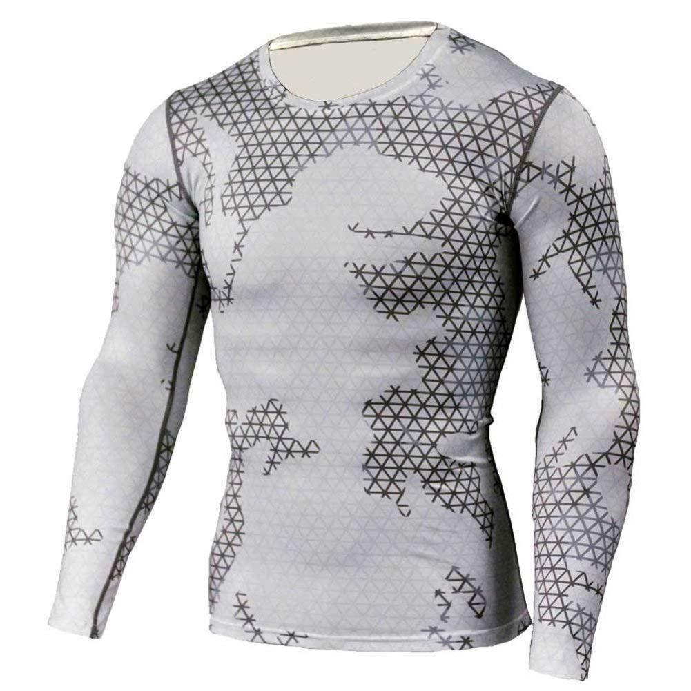 PKAWAY White Camo Compression Shirt Long Sleeve Running Tee
