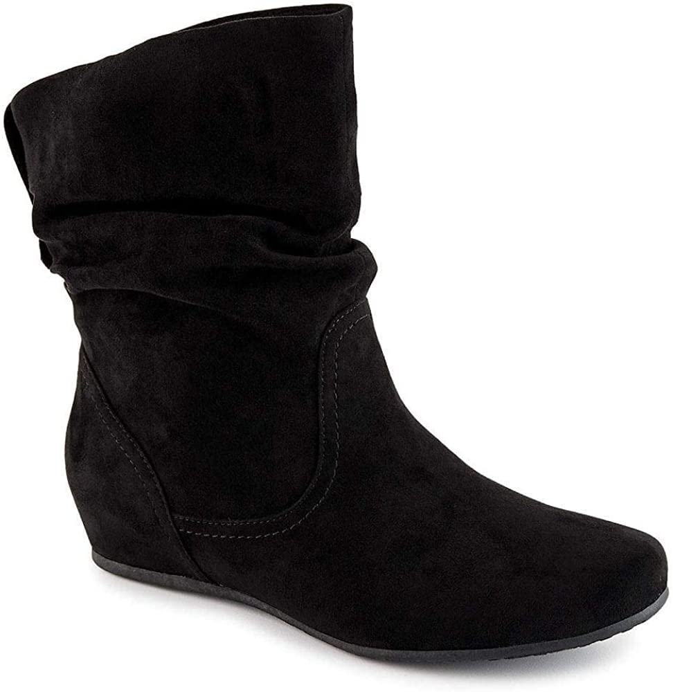 Womens Sweet Slouch Pull On Flats Suede Shoes Ankle Boots All US Size Fashion